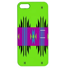 Tribal Shapes On A Green Background 			apple Iphone 5 Hardshell Case With Stand by LalyLauraFLM