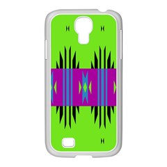 Tribal Shapes On A Green Background 			samsung Galaxy S4 I9500/ I9505 Case (white)