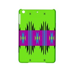 Tribal Shapes On A Green Background 			apple Ipad Mini 2 Hardshell Case by LalyLauraFLM