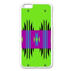Tribal Shapes On A Green Background 			apple Iphone 6 Plus/6s Plus Enamel White Case by LalyLauraFLM