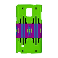 Tribal Shapes On A Green Background 			samsung Galaxy Note 4 Hardshell Case by LalyLauraFLM