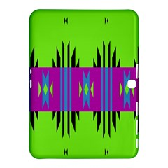 Tribal Shapes On A Green Background 			samsung Galaxy Tab 4 (10 1 ) Hardshell Case by LalyLauraFLM