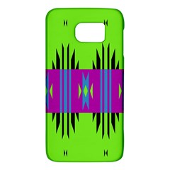 Tribal Shapes On A Green Background 			samsung Galaxy S6 Hardshell Case by LalyLauraFLM