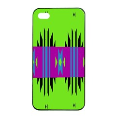 Tribal Shapes On A Green Background 			apple Iphone 4/4s Seamless Case (black) by LalyLauraFLM