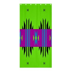 Tribal Shapes On A Green Background 	shower Curtain 36  X 72  by LalyLauraFLM