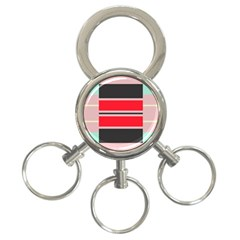 Rectangles In Retro Colors  			3 Ring Key Chain by LalyLauraFLM