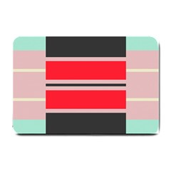 Rectangles In Retro Colors  			small Doormat by LalyLauraFLM