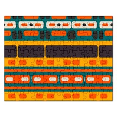 Rectangles In Retro Colors Texture 			jigsaw Puzzle (rectangular) by LalyLauraFLM
