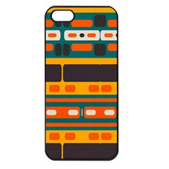 Rectangles In Retro Colors Texture 			apple Iphone 5 Seamless Case (black) by LalyLauraFLM