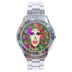 Flowers In Your Hair Stainless Steel Men s Watch by icarusismartdesigns