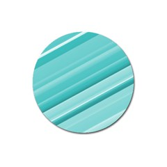 Teal And White Fun Magnet 3  (round) by timelessartoncanvas