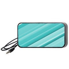 Teal And White Fun Portable Speaker (black)  by timelessartoncanvas