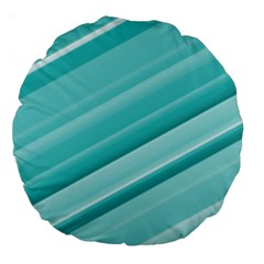 Teal And White Fun Large 18  Premium Round Cushions by timelessartoncanvas