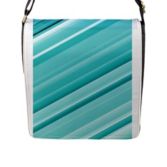Teal And White Fun Flap Messenger Bag (l)  by timelessartoncanvas