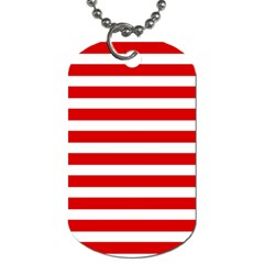Red And White Stripes Dog Tag (two Sides) by timelessartoncanvas