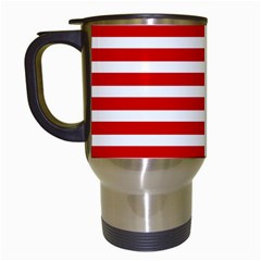 Red And White Stripes Travel Mugs (white) by timelessartoncanvas