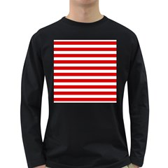 Red And White Stripes Long Sleeve Dark T-shirts by timelessartoncanvas