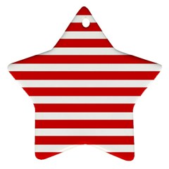 Red And White Stripes Star Ornament (two Sides)  by timelessartoncanvas