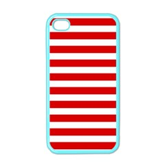Red And White Stripes Apple Iphone 4 Case (color) by timelessartoncanvas
