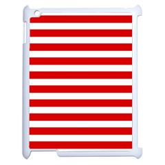 Red And White Stripes Apple Ipad 2 Case (white) by timelessartoncanvas