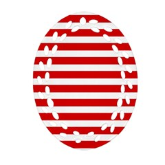 Red And White Stripes Ornament (oval Filigree)  by timelessartoncanvas