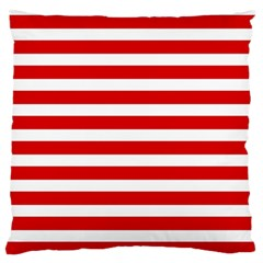 Red And White Stripes Large Flano Cushion Cases (one Side)  by timelessartoncanvas