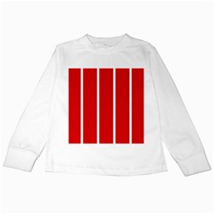 White And Red Stripes Kids Long Sleeve T-shirts