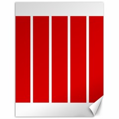White And Red Stripes Canvas 12  X 16   by timelessartoncanvas
