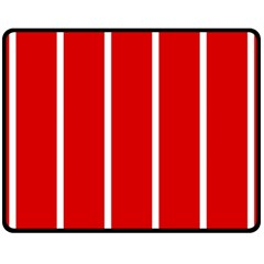 White And Red Stripes Fleece Blanket (medium)  by timelessartoncanvas