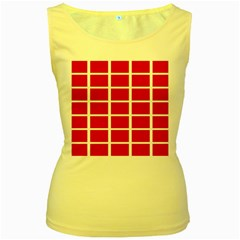 Red Cubes Stripes Women s Yellow Tank Tops by timelessartoncanvas