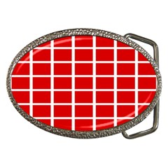 Red Cubes Stripes Belt Buckles by timelessartoncanvas