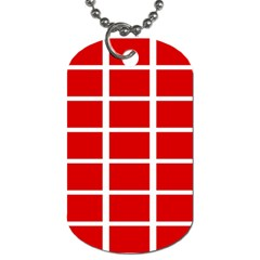 Red Cubes Stripes Dog Tag (two Sides) by timelessartoncanvas