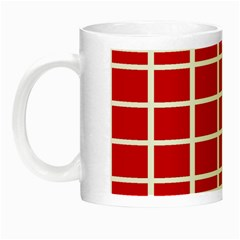 Red Cubes Stripes Night Luminous Mugs by timelessartoncanvas