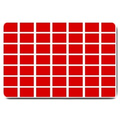 Red Cubes Stripes Large Doormat  by timelessartoncanvas
