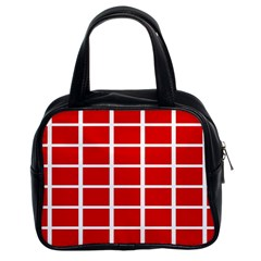 Red Cubes Stripes Classic Handbags (2 Sides) by timelessartoncanvas