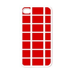 Red Cubes Stripes Apple Iphone 4 Case (white) by timelessartoncanvas