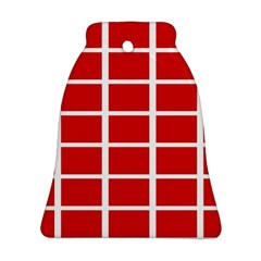 Red Cubes Stripes Ornament (bell)  by timelessartoncanvas