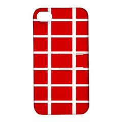 Red Cubes Stripes Apple Iphone 4/4s Hardshell Case With Stand by timelessartoncanvas