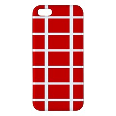 Red Cubes Stripes Apple Iphone 5 Premium Hardshell Case by timelessartoncanvas