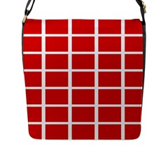 Red Cubes Stripes Flap Messenger Bag (l)  by timelessartoncanvas