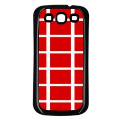 Red Cubes Stripes Samsung Galaxy S3 Back Case (black) by timelessartoncanvas