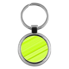 Bright Green Stripes Key Chains (round)  by timelessartoncanvas