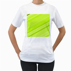 Bright Green Stripes Women s T-shirt (white)  by timelessartoncanvas