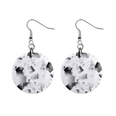 Gray And Silver Cubes Abstract Mini Button Earrings