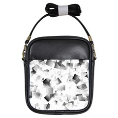 Gray And Silver Cubes Abstract Girls Sling Bags by timelessartoncanvas