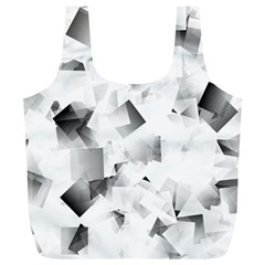 Gray And Silver Cubes Abstract Full Print Recycle Bags (l)  by timelessartoncanvas