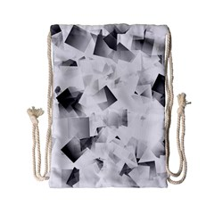 Gray And Silver Cubes Abstract Drawstring Bag (small) by timelessartoncanvas