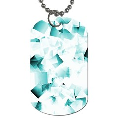 Modern Teal Cubes Dog Tag (one Side) by timelessartoncanvas