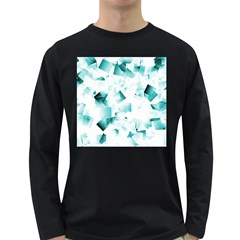 Modern Teal Cubes Long Sleeve Dark T-shirts by timelessartoncanvas
