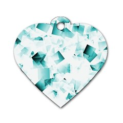 Modern Teal Cubes Dog Tag Heart (one Side) by timelessartoncanvas